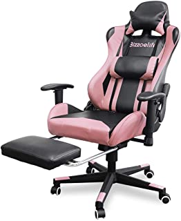 Gaming Chair Ergonomic Racing – Bizzoelife High Back PU Leather Adjustable Swivel Office Executive Task Chair with Footrest Backrest Headrest (Pink)