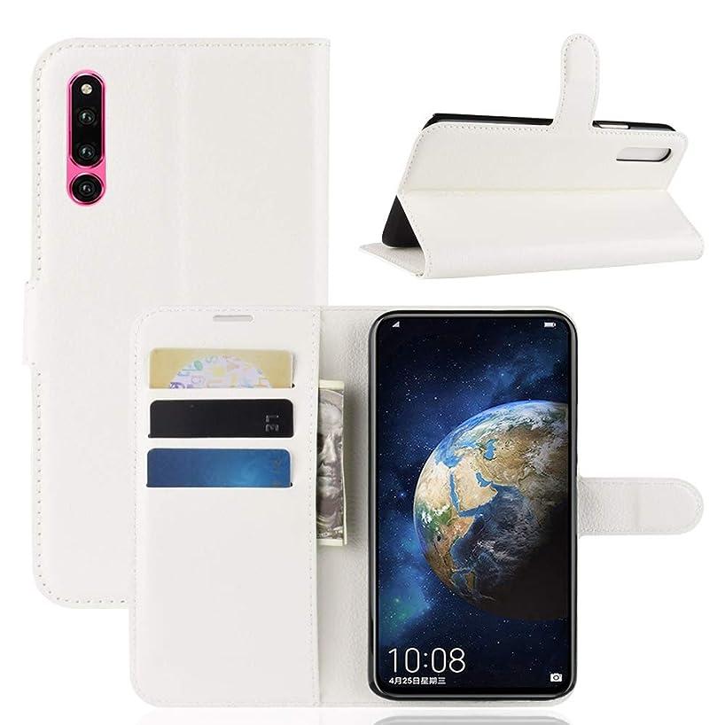 有罪増幅失望WTYD 電話アクセサリー Huawei Honor Magic 2用ライチーテクスチャ水平フリップレザーケース、ホルダー&カードスロット&財布付き 電話使用 (Color : 白)