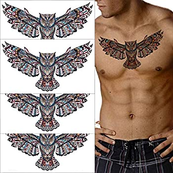 Fanoshon Large Owl Temporary Tattoos for Adult Men Teens 4 Sheets Cool Chest and Back Fake Halloween Body Makeup Design Stickers Body Art Tattoos