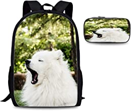 Casual Backpack Fashion Print Daily Bag Travel Bookpacks with pencil bag (Japanese Spitz Dog Yawn Cute Fluffy)
