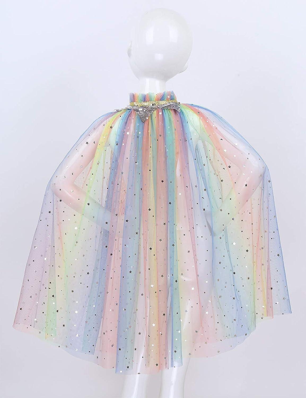 iiniim Robe Cape Longue /Étoile Paillettes Brillant Tulle Transparent Enfant Fille D/éguisement Princesse Reine Cosplay Costume No/ël Halloween Manteau Poncho 3-8 Ans