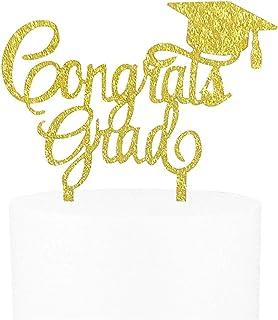 Awyjcas 2020 Congrats Grad Cake Topper - Class of 2020 Graduate Party Decorations Supplies - High School Graduation, College Graduate Cake Topper (Gold)