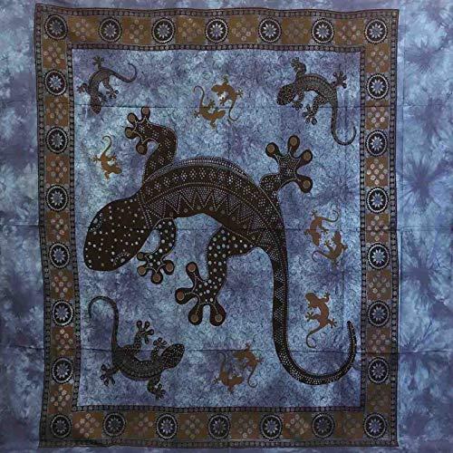 Telo Arredo Copritutto Grande Geko 210x230 cm 100% Cotone Copri divano Gran foulard con Frange Batik (Blu)