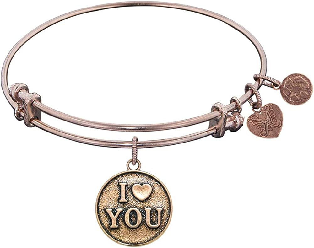 Angelica Collection Antique Stipple Finish Brass i<3 You Expandable Bangle