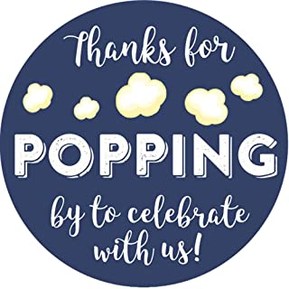 2 Inch Thanks for Popping by Wedding Stickers Set of 60 (Navy)