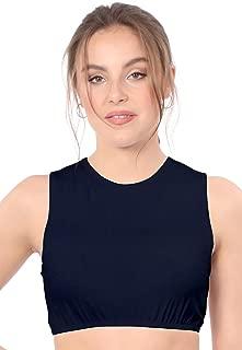 Women's Modest High Neck Cropped Layering Shell - Cotton Lycra Full Shoulder Sleeveless Tank