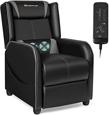 Goplus Massage Gaming Recliner Chair, Racing Style PU Leather Single Recliner Sofa with Footrest, Adjustable Modern Living Ro