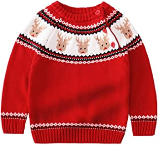 Miccina Baby Toddlers Boys Girls Crew Neck Knit Sweater Cotton Reindeer Long Sleeves Sweatershirt