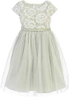 4ae267945dcc Sweet Kids Little Girls Sage Floral Sponge Mesh Tulle Flower Girl Dress 2-6