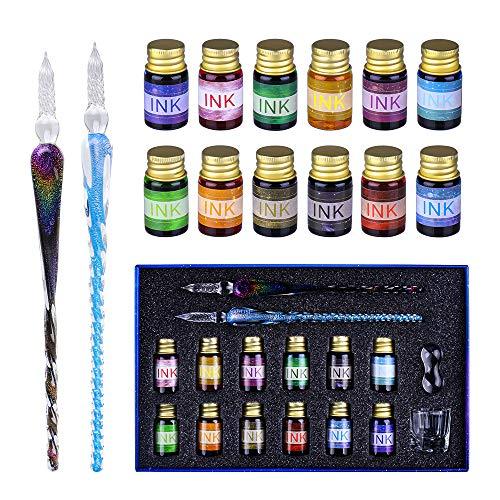 Glas Dip Pen Ink Set, OFUN 2 Kalligraphie Glasstift mit 12 bunten Tinten für Grußkarten,Unterschriften, Kalligraphie, Kunst, schönschreibfüller, hand lettering, Dekoration und Geschenk