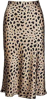 Leopard Skirt for Women Midi Length High Waist Silk Satin...