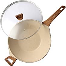 WaxonWare 12.5 Inch Non Stick Wok With Glass Lid Coated With Marbellous (A 100% PFOA & APEO Free German Non Stick Coating)...