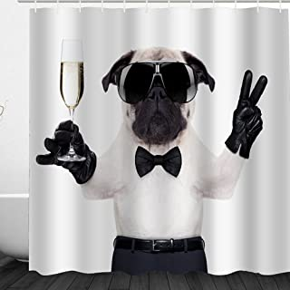 Alicemall Cute 3D Dog Fabric Shower Curtain, Bathroom Accessories Waterproof Shower Curtain with Free Hooks