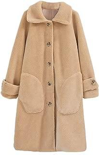 Women Plush Overcoat Warm Jacket Fashion Autumn and Winter Loose Medium Long Windbreaker Coat DongDong