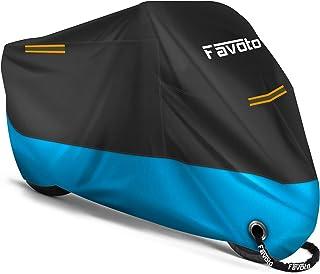 Favoto [Verbeterde versie] Waterdichte Motorhoes Motorfiets Dekzeil Outdoor Motorgarage Scooter Afdekking Winddicht met 2 ...