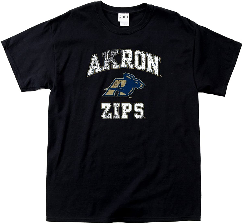 NCAA Akron Zips 100Percent PreShrunk Vintage Mascot Short Sleeve Tee