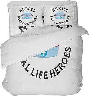 LnimioAOX Sombrero de Enfermera Azul con Espalda Blanca Real Life Heroes Juego de Funda nórdica de 3 Piezas con 2 Fundas de Almohada Decorativas Colcha Sábanas