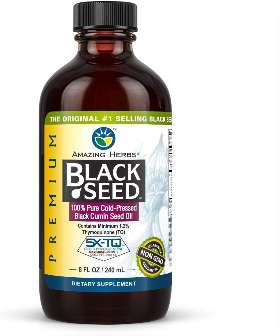 Amazing Herbs Premium Black Seed Oil - Cold Pressed Nigella Sati