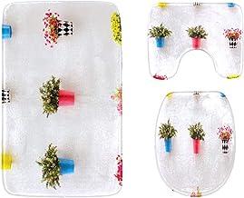 Colorful Flowers in A Ceramic Flowerpot Bathroom Rug Mats Set 3-Piece,Soft Shower Bath Rugs,Contour Mat and Toilet Seat Li...