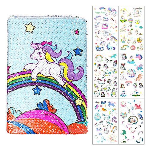 Joeyer Unicornio Lentejuelas Cuaderno A5 y Lindo Pegatinas, Mágicas Cuaderno de Arcoíris Diario Secreto de Papelería Regalo para Niños