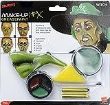 Smiffy'S 37804 Kit De Maquillaje De Bruja Con Pintura Para La Cara, Nariz, Lápices Y Esponja, Verde
