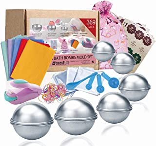 Bath Bomb Mold Set 369 Pcs - 3 size DIY Mould Spoons set Warp bags gift bags rubber bands Hand Made stickerswrapping papers and mini sealer set for Crafting your own Fizzles by SWISSELITE