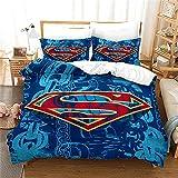 Funda Edredon Cama 220 Logo De Superman Tejido De Poliéster Suave Y Cómodo Funda Nordica 220X240 Cm con 2 Fundas De Almohada 40X70 Cm Ropa De Cama Juego De 3 Piezas