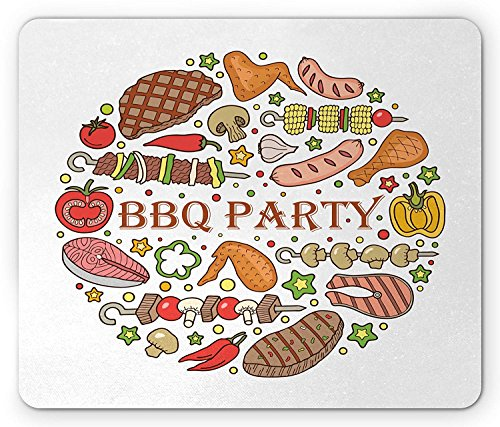 BBQ Party Mouse Pad, Vlees Vis en Worst met Grill Marks Backyard Party Themed Kleurrijke Regeling, Standaard Grootte Rechthoek Antislip Rubber Mousepad, Multi kleuren