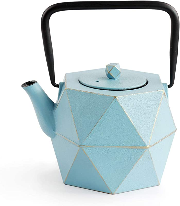 Cast Iron Tea Kettle TOPTIER Japanese Cast Iron Tea Kettle With Infuser Stovetop Safe Cast Iron Tea Kettle Diamond Design Cast Iron Teapot Coated With Enameled Interior For 30 Oz 900 Ml Blue