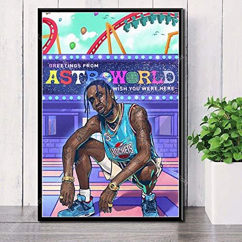JLFDHR Quadro su Tela 40x60cm Senza Cornice Travis Scott Hip Hop Rapper Music Star Astroworld Home Decoration