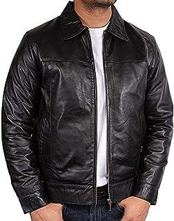 Black Mens Leather Jacket Motorcycle Genuine Lambskin Harrington