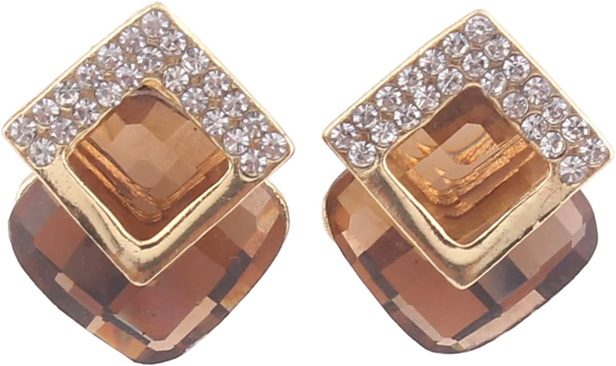 Grace Jun Luxury Bridal Rhinestone Crystal Square Shape Clip on Earrings Non Piercing for Women Ear Clip