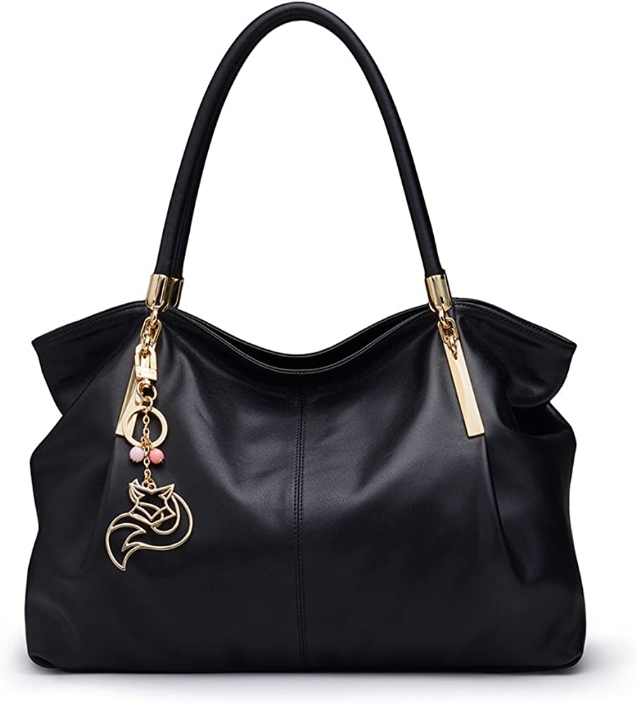 LAORENTOU Cowhide Leather Purses and Handbags for Women Shoulder Bags Black Shoulder Tote Bags Top-handle Purse
