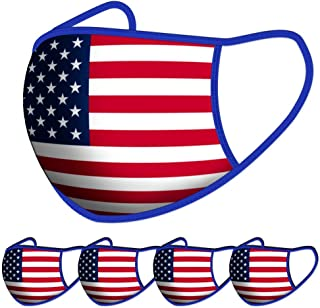Reusable Cotton Fabric,Fashion Protective, Unisex Black Dust Cotton, Washable(5PCS-National flag)