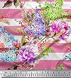 Soimoi Rosa Poly Georgette Stoff Streifen, Lavendel &