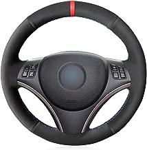 MEWANT Hand-Stitched Black Suede with Red Marker Steering Wheel Cover Wrap for BMW 1 Series E81 E82 E87 E88 2008-2012/3 Series E90 E91 E92 E93 2006-2011
