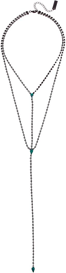 Teardrop Rhinestone Double Layer Y-Necklace