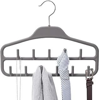 Belt Hanger Rack Holder, Sturdy Belt Organizer with 360 Degree Swivel, 11 Large Belt Hooks for Closet, Rubberized Belt Hangers for Men Women, Gray