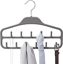 Belt Hanger Rack Holder, Sturdy Belt Organizer with 360 Degree Swivel, 11 Large Belt Hooks for Closet, Non Slip Rubber Coated, Gray