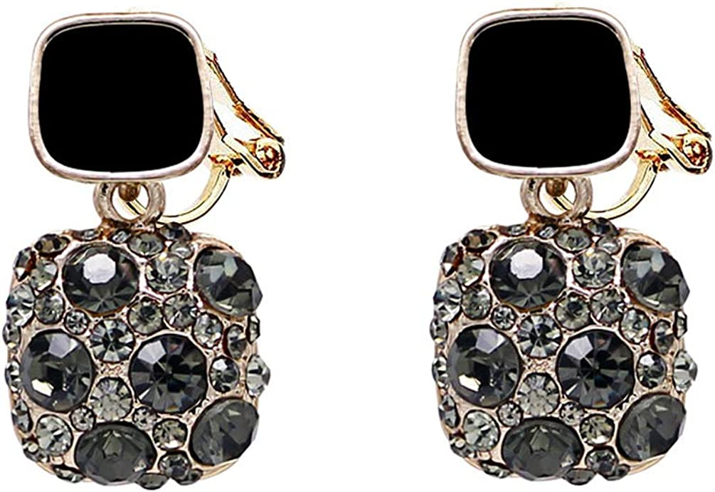 Double Squar Black Crystal Clip on Dangle Earrings no Pierced Rhinestone Gold Tone for Women Girl Vintage