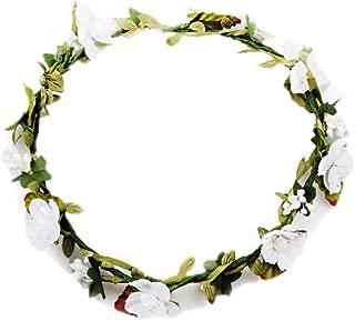 Floral Fall BOHO Headband Flower Crown Festival Wedding Beach Hair Wreath F-01 (White)