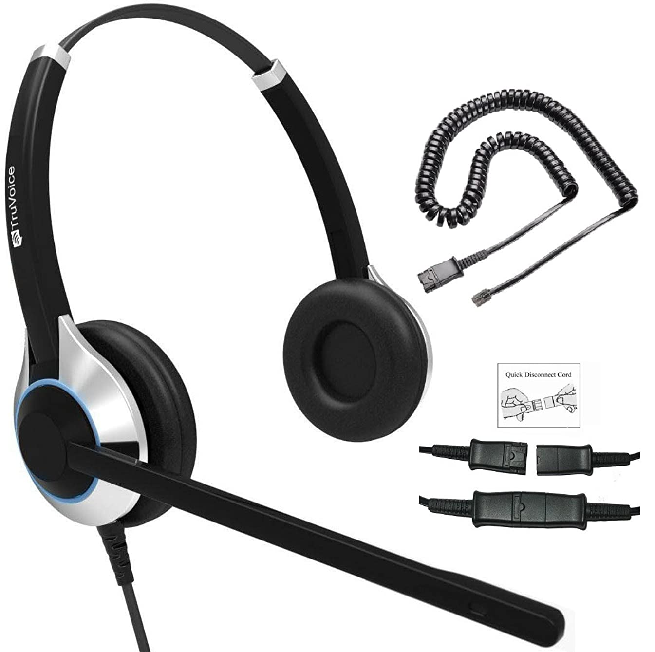 Deluxe Double Ear Noise Canceling Headset for Call Center/Office & Cable for All Cisco 6000, 7800 and 8000 Series Phones and Also Models 7931 7940 7941 7942 7945 7960 7961 7962 7965 7970 7975