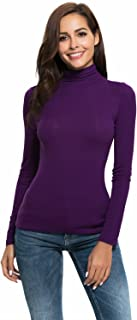 Womens Long Sleeve High Turtleneck Mock Neck Slim Fit Stretchy Layer T Shirts Tops
