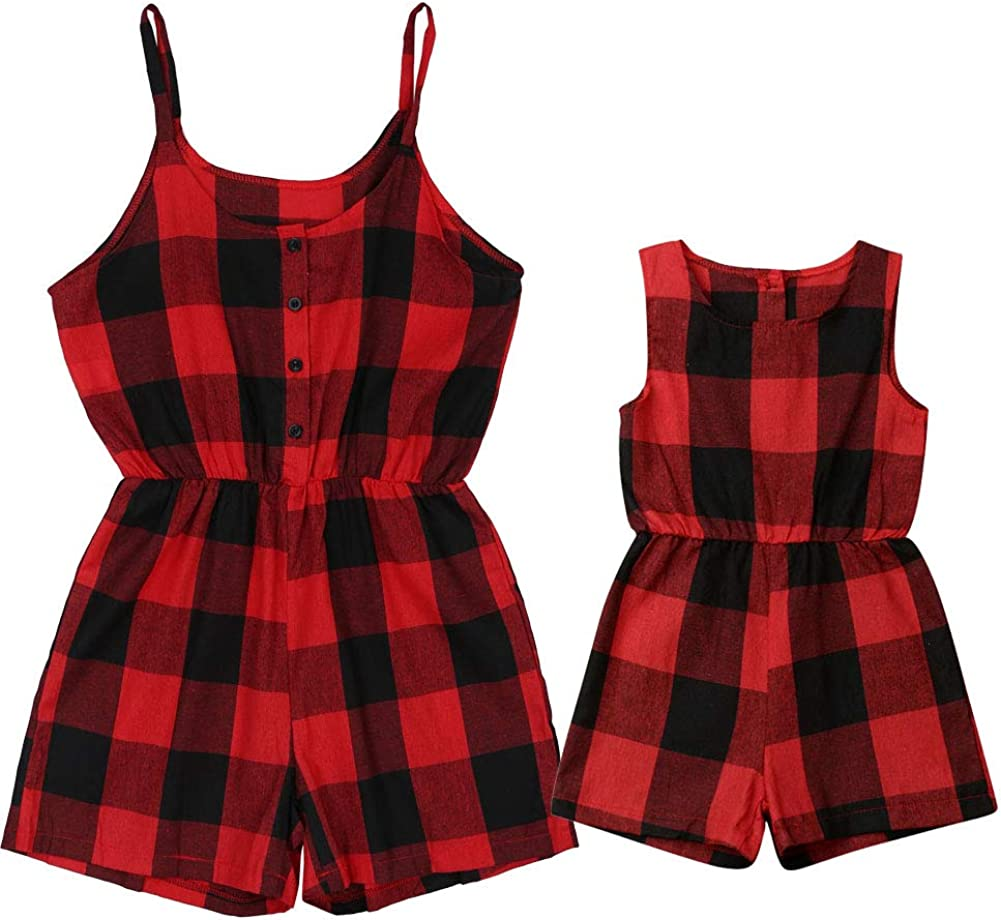 Mommy Max 60% OFF and Max 89% OFF Me Matching Clothes Jumpsuit F Plaid Romper Sleeveless
