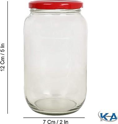 KA Enterprises Glass jar Capacity 1 kg Set of 4 Jar,Coming with red Color Metal Cap air Tight and Rust Proof