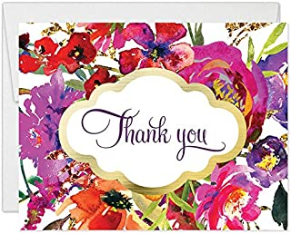 Classic Floral Blooms Thank You Cards with Envelopes (Pack of 50) Thanks Gracias Birthday Wedding Grad Party Thank You Notecards See Matching 'Let's Celebrate' Invites Excellent Value Notes VT0030