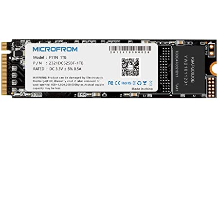 MICROFROM 1TB F11N M.2 SSD NVME PCIe SSD Internal Solid State Drive PCIe Gen3X4, M.2 NVMe 1.3, SSD M.2 TCL NAND Flash Up to Read/Write 2,150/1,800MB/s for PC Gaming Laptop