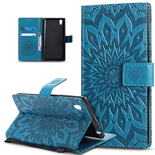 Kompatibel mit Schutzhülle Sony Xperia L1 Hülle Handyhülle Lederhülle,Prägung Mandala Blumen Sonnenblume PU Lederhülle Flip Hülle Cover Ständer Etui Wallet Tasche Hülle Schutzhülle,Blau