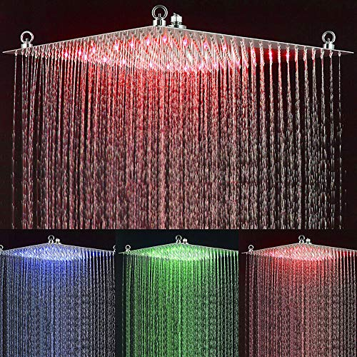 Onyzpily LED-Regenduschkopf, quadratisch, ultradünn, 50,8 cm, 3 Farbwechsel, Chrom, polierter Edelstahl, Badezimmer, Regenduschen, eleganter Temperatursensor, Wand- oder Deckenmontage, Chrom