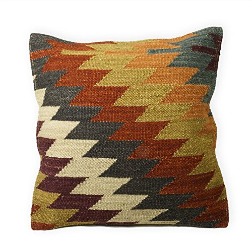 Indian Arts Fair Trade Alwar Kilim Cushion Covers Handmade on Handlooms using 80/20 wool/cotton and Natural Dyes (45 x 45cm)